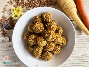 Buchweizen Gemüse Bällchen schnabel-auf