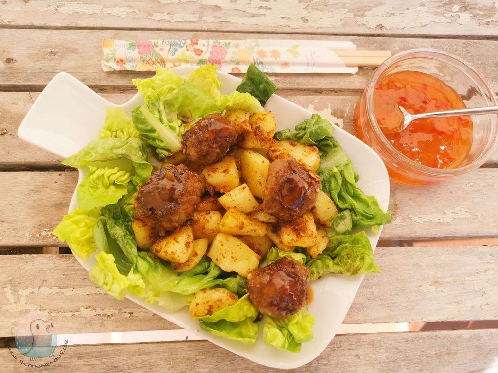 Kartoffelpfanne mit Asia-Bällchen schnabel-auf.de